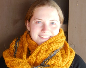 Bulky Yellow and Gray Infinity Loop Wool and Alpaca Scarf - Warm Hand Knit Moebius