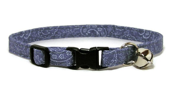 Fancy Cat Collar - Denim Paisley - Breakaway Safety Cute Fancy Cat Kitten Collar