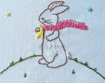 Hand Embroidery PDF Pattern - Reach for the Stars - Bunny Rabbit - Instant Download