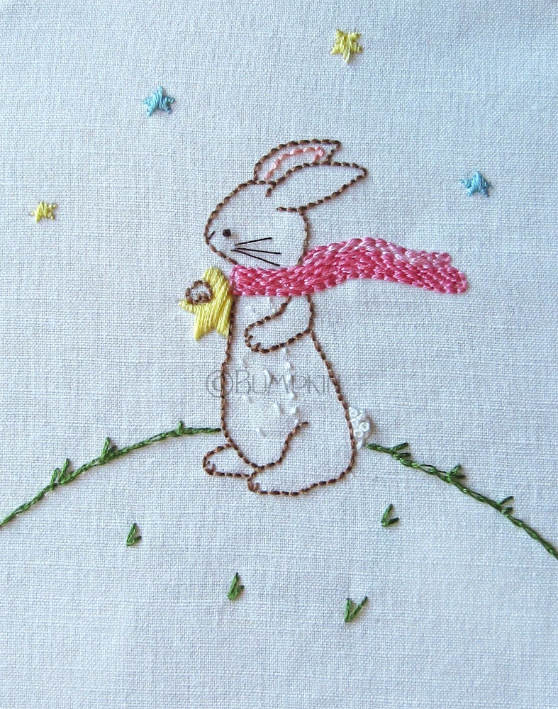 Hand embroidery pdf pattern reach for the stars bunny