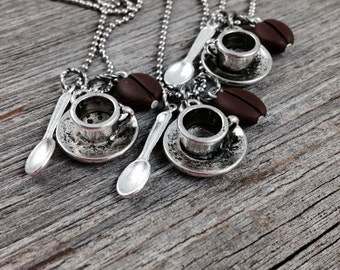 COFFEE NECKLACE ~ Coffee Lovers Necklace with Cup and Spoon Charms and Bean Bead on Adjustable Stainless Steel Ball Chain