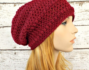 Crochet Hat Womens Hat - Penelope Puff Stitch Slouchy Beanie Hat in Burgundy Wine Red Crochet Hat - Red Hat Womens Accessories Winter Hat