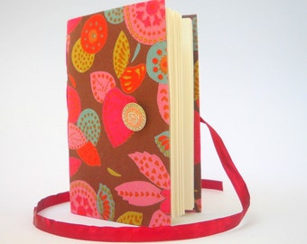 Brown Pink journal notebook, Lined paper for writing, Colorful flowers & leaves fabric cover Personal handmade diary Opens with peach button