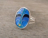 cloisonné enamel ring - enamel jewelry - delicate jewelry - unique ring - hand fabricated ring - 7.75 ring - delicate ring