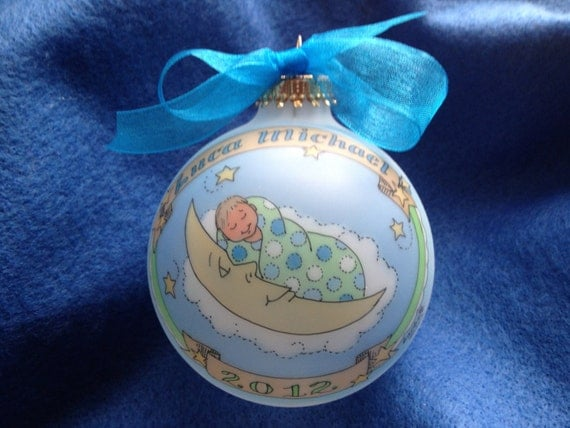 Baby Boys' Deluxe Baby in the Moon Ornament, Keepsake, Original, Handpainted, including all Birth Information, WITH DISPLAY STAND