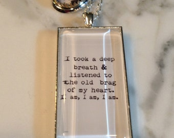 Sylvia Plath Necklace, I am I am I am, Sylvia Plath Quote, Sylvia Plath Jewelry, Sylvia Plath, Quote Necklace, Quote Charm,Literary Necklace