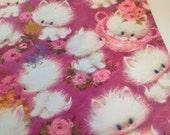 Vintage 1960s Hallmark Wrapping Paper Fuzzy Kitties Cats Birthday Pink