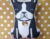 Boston Terrier pillow plush doll mustard polka dots