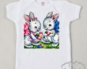 Easter Bunny Shirt Pair Custom Size Tshirt Retro Tee Vintage Boy and Girl Toddler Infant