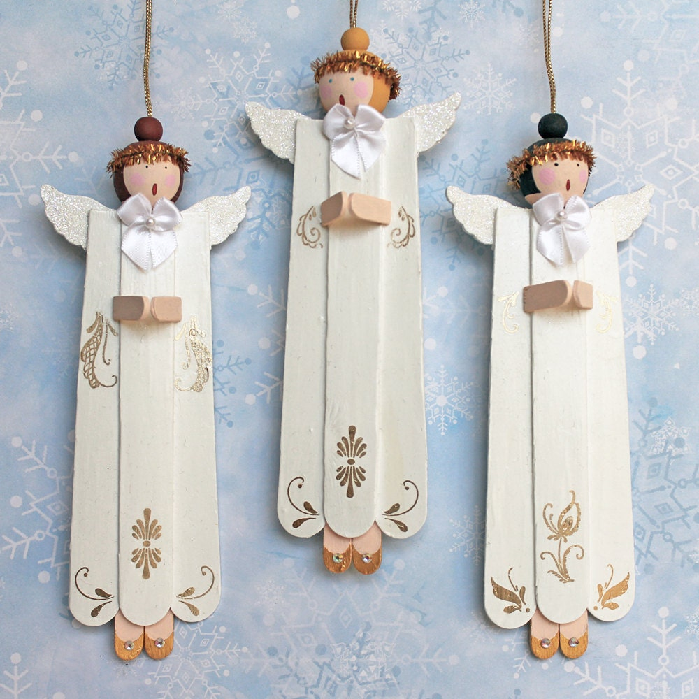 Angel choir christmas ornaments ooak tree decoration for Glace decoration