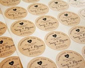 Custom Wedding Favor Sticker  - Birthday or Party Bag Accessory - Sheets of 20 Large Round Stickers with Custom Text
