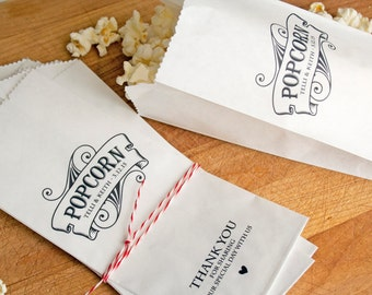 Wedding Popcorn Bags  - Vintage Style - 25 Bags