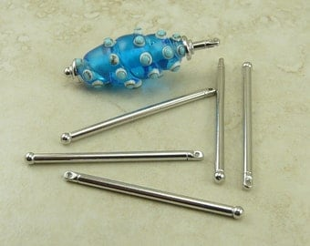 5 TierraCast 1 3/4 inch Bead Bars w/ Ball End - Large Hole Beads Lampwork Clay - Rhodium Plated Lead Free Pewter I ship Internationally 2309