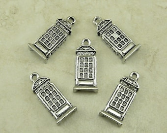 5 Telephone Booth Box Charm > Police Box Dr Doctor Who British Tardis - Raw Unfinished American made Lead Free Pewter I ship internationally