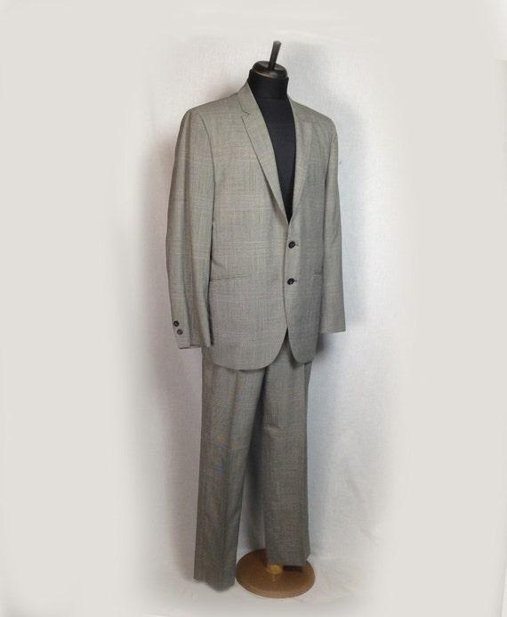 Vintage Men's Suit, 1960's, Glen Plaid, Gray, medium