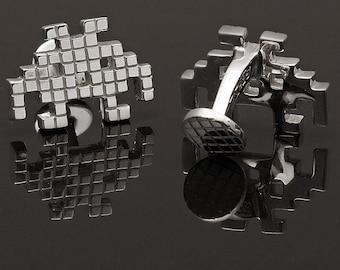 Sterling Silver Pixel Monster Cufflinks