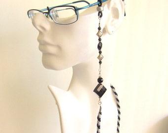 Hand Braided and Beaded Women Eye Glass Lanyard / Holder / Chain / Leash - Blue Sunstone Eye Glass Holder