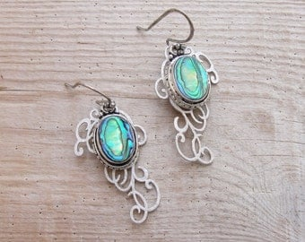 Abalone Shell Earrings Ornate Open metalwork Seashell Jewelry