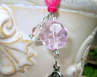 Rearview Mirror Jewelry Charm Car Feng Shui Pink Heart