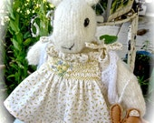 Knit Stuffed Animal, Mohair Bunny Doll, Hand Knit, Hand Embroidered, Collectible heirloom- handsmocked dress
