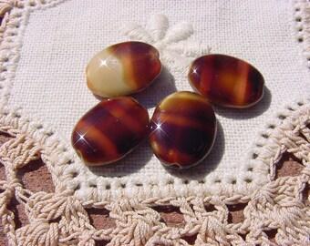Mocha Espresso Satin Tabs Vintage Glass Beads