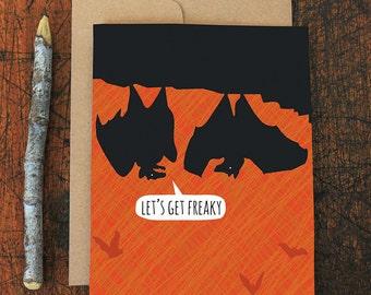 funny halloween card / freaky bats