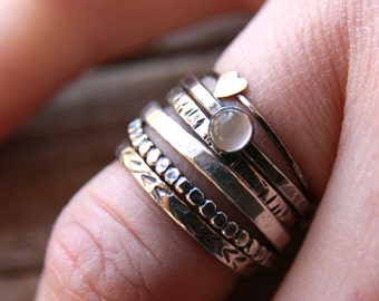 Textured Stackers {Sterling, Hammered, Rings, Hand Stamped, Rustic, Moonstone, Heart, Customized, Chevron, Personalized}