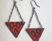 Red Triangle Enamel Earrings