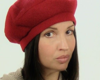 Beret in Red Wool Blend - Made to Order