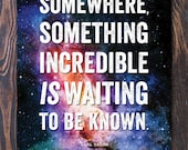 Waiting Poster Giclee Art Print with Free Shipping in the US, nebula art, many sizes, motivational poster, graduation gift, fathers day gift