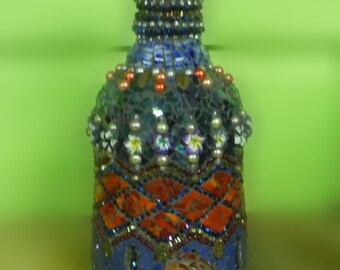 stained glass mosaic broken china jewelry beaded pique assiette decanter poison bottle genie bottle