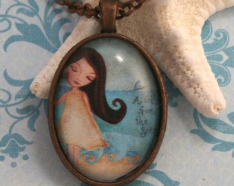 Girl's Necklace-Kids Jewelry- Beach Girl Art -Gift for Girl- Childrens Jewelry- Gift Under 20