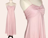 Vintage 70s Dress / Pink Disco Dress / Pink Sundress