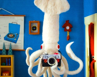 Print: Giant Squid Selfie - plush felt diorama camera photo blue toy white digital handmade craft photobomb art wall decor