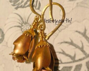 STEAMPUNK ROSES vintage brass flower earrings