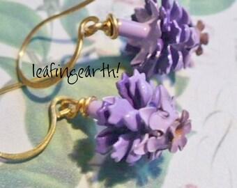 LAVENDER enamel flower Bridal Bridesmaid earrings