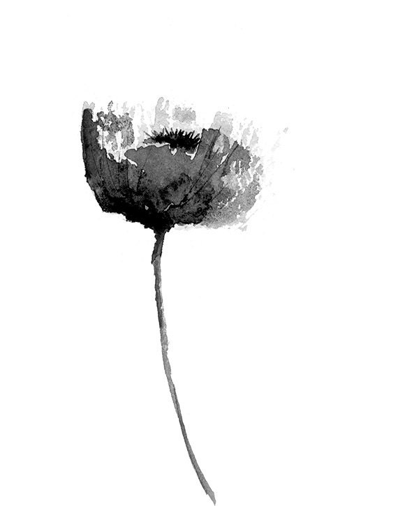 Black and white poppy print from original watercolor flower for Minimal art black and white