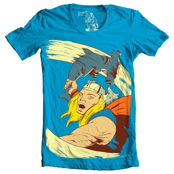Mens Tee, Thor, Shark Funny Graphic Tees, Man Hammer Time, Shirt Avengers Super Hero, Nerd T Shirt, Geek, Nerdy Gifts for him, sizes S-2XL