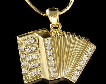 Swarovski Crystal Bass Piano Accordion Squeezebox Folk Music Musical Gold Tone Rhodium Plated Charm Necklace Best Friend Christmas Gift