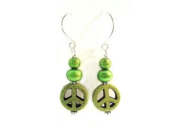 Peace Sign Earrings Lime Green Dangle Earrings Summer Earrings  Peace Sign Jewelry - E2010-22