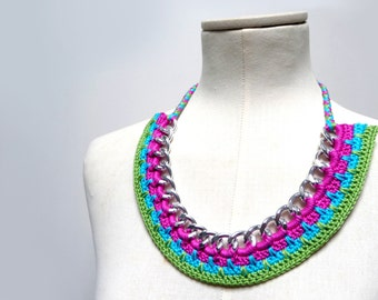 Crochet Chain Necklace Choker - Color Block Statement Necklace - silver metal chain and pink, turquoise, green cotton