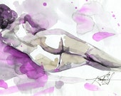 Nude No. 1 - Original abstract watercolor Female Figure painting By Kathy Morton Stanion EBSQ