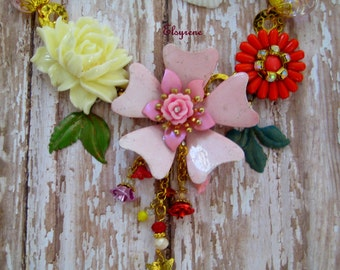 Collage upcycled Vintage Enamel bold Blooms Bib Necklace-Romantic Butterfly,flower Garden Repurposed Pink,Red,ivory altered Art