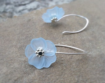 Lucite Flower Earrings Baby Blue with Sterling Silver Light Sapphire