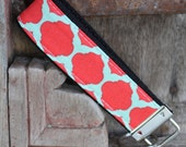 Key Chain-Key Fob-Wristlet- Red Diamonds on Black-READY TO SHIP