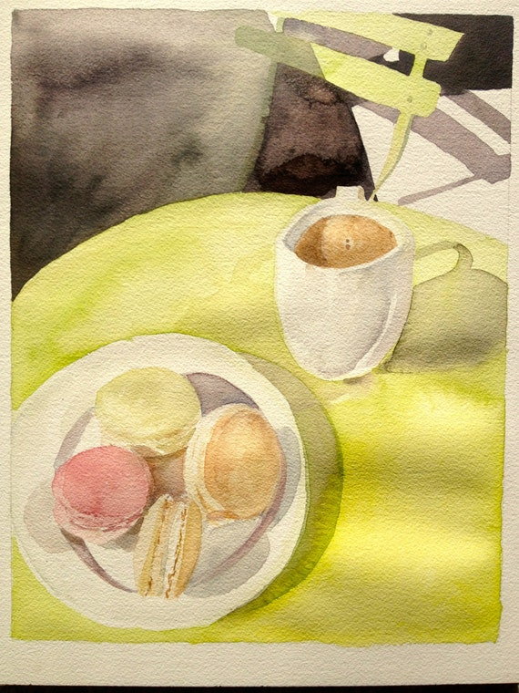 "Original 11x14"" Watercolor Painting: Macarons and Coffee"