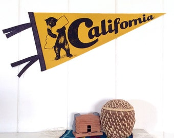 Pennant California Silkscreen Screenprint on Gold Wool Felt