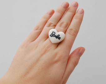White and black barbie heart ring
