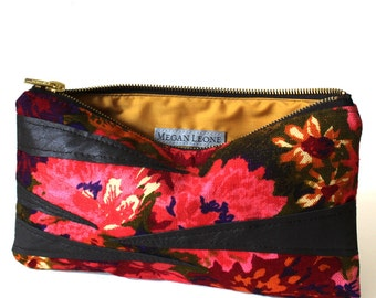 Floral and Zebra Canvas and Leather Zipper Small Bag