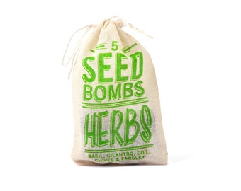 Herb Seed Bombs - Edible Indoor or Outdoor Gardening to Grow Basil, Cilantro, Chives, Dill, and Parsley